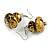 Glitter Gold/ Black Double Bead Wood Drop Earrings In Silver Tone - 55mm Long