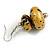 Glitter Gold/ Black Double Bead Wood Drop Earrings In Silver Tone - 55mm Long - view 5