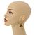 Glitter Gold/ Black Double Bead Wood Drop Earrings In Silver Tone - 55mm Long - view 2