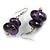 Purple/ Black Double Bead Wood Drop Earrings In Silver Tone - 55mm Long
