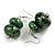 Green/ Black Double Bead Wood Drop Earrings In Silver Tone - 55mm Long