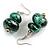 Metallic Green/ Black Double Bead Wood Drop Earrings In Silver Tone - 55mm Long