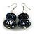 Black/ Blue/ White Double Bead Wood Drop Earrings In Silver Tone - 55mm Long