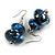 Blue/ Black/ White Double Bead Wood Drop Earrings In Silver Tone - 55mm Long
