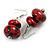 Red/ Black Double Bead Wood Drop Earrings In Silver Tone - 55mm Long