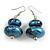 Metallic Blue/ Black Double Bead Wood Drop Earrings In Silver Tone - 55mm Long