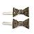 Pair Of Ligth Grey Pave Set Swarovski Crystal 'Bow' Magnetic Hair Slides In Rhodium Plating - 40mm Length