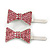 Pair Of Pink Pave Set Swarovski Crystal 'Bow' Magnetic Hair Slides In Rhodium Plating - 40mm Length