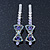 Pair Of Clear/ Purple Swarovski Crystal 'Bow' Hair Slides In Rhodium Plating - 60mm Length - view 7