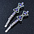 Pair Of Clear/ Purple Swarovski Crystal 'Bow' Hair Slides In Rhodium Plating - 60mm Length - view 3