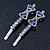 Pair Of Clear/ Purple Swarovski Crystal 'Bow' Hair Slides In Rhodium Plating - 60mm Length - view 8