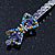 Pair Of Clear/ Purple Swarovski Crystal 'Bow' Hair Slides In Rhodium Plating - 60mm Length - view 5