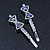 Pair Of Clear/ Purple Swarovski Crystal 'Bow' Hair Slides In Rhodium Plating - 60mm Length - view 9