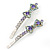 Pair Of Clear/ Purple Swarovski Crystal 'Bow' Hair Slides In Rhodium Plating - 60mm Length - view 12
