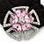 Large Layered Rhodium Plated Swarovski Crystal 'Flower' Pony Tail Black Hair Scrunchie - Light Pink/ Clear/ AB - view 2