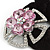 Large Layered Rhodium Plated Swarovski Crystal 'Flower' Pony Tail Black Hair Scrunchie - Light Pink/ Clear/ AB - view 3
