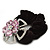 Large Layered Rhodium Plated Swarovski Crystal 'Flower' Pony Tail Black Hair Scrunchie - Light Pink/ Clear/ AB - view 4