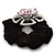 Large Layered Rhodium Plated Swarovski Crystal 'Flower' Pony Tail Black Hair Scrunchie - Light Pink/ Clear/ AB - view 5