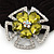 Large Layered Rhodium Plated Swarovski Crystal 'Flower' Pony Tail Black Hair Scrunchie - Olive Green/ Clear/ AB - view 2