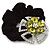 Large Layered Rhodium Plated Swarovski Crystal 'Flower' Pony Tail Black Hair Scrunchie - Olive Green/ Clear/ AB - view 3