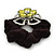Large Layered Rhodium Plated Swarovski Crystal 'Flower' Pony Tail Black Hair Scrunchie - Olive Green/ Clear/ AB - view 4