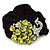 Large Rhodium Plated Crystal Peacock Pony Tail Black Hair Scrunchie - Olive/Light Green