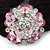 Large Layered Rhodium Plated Crystal Flower Pony Tail Black Hair Scrunchie - Light Pink/ Clear/ AB - view 2