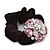 Large Layered Rhodium Plated Crystal Flower Pony Tail Black Hair Scrunchie - Light Pink/ Clear/ AB - view 3