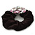 Large Layered Rhodium Plated Crystal Flower Pony Tail Black Hair Scrunchie - Light Pink/ Clear/ AB - view 4