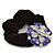 Large Layered Rhodium Plated Crystal Flower Pony Tail Black Hair Scrunchie - Violet/ Clear/ AB - view 4