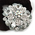 Large Layered Rhodium Plated Crystal Flower Pony Tail Black Hair Scrunchie - Clear/ AB - view 2