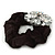 Large Layered Rhodium Plated Crystal Flower Pony Tail Black Hair Scrunchie - Clear/ AB - view 3