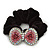 Large Rhodium Plated Crystal Bow Pony Tail Black Hair Scrunchie - Pink/ Clear