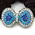 Large Rhodium Plated Crystal Bow Pony Tail Black Hair Scrunchie - Light Blue/Clear - view 2