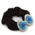 Large Rhodium Plated Crystal Bow Pony Tail Black Hair Scrunchie - Light Blue/Clear - view 3