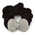 Large Rhodium Plated Crystal Bow Pony Tail Black Hair Scrunchie - Clear