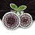 Rhodium Plated Swarovski Crystal 'Double Cherry' Pony Tail Black Hair Scrunchie - AB/ Amethyst - view 2