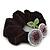 Rhodium Plated Swarovski Crystal 'Double Cherry' Pony Tail Black Hair Scrunchie - AB/ Amethyst - view 3