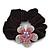 Medium Rhodium Plated Swarovski Crystal Flower Pony Tail Black Hair Scrunchie - Pink/ Clear