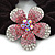 Medium Rhodium Plated Swarovski Crystal Flower Pony Tail Black Hair Scrunchie - Pink/ Clear - view 2