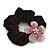 Medium Rhodium Plated Swarovski Crystal Flower Pony Tail Black Hair Scrunchie - Pink/ Clear - view 3