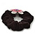 Medium Rhodium Plated Swarovski Crystal Flower Pony Tail Black Hair Scrunchie - Pink/ Clear - view 4