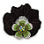 Medium Rhodium Plated Swarovski Crystal Flower Pony Tail Black Hair Scrunchie - Green/ Clear