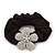 Medium Rhodium Plated Swarovski Crystal Flower Pony Tail Black Hair Scrunchie - Clear