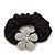 Medium Rhodium Plated Swarovski Crystal Flower Pony Tail Black Hair Scrunchie - Clear