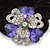 Large Layered Rhodium Plated Crystal Flower Pony Tail Black Hair Scrunchie - Violet/ Clear/ AB - view 2