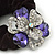 Large Layered Rhodium Plated Crystal Flower Pony Tail Black Hair Scrunchie - Violet/ Clear/ AB - view 3