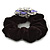 Large Layered Rhodium Plated Crystal Flower Pony Tail Black Hair Scrunchie - Violet/ Clear/ AB - view 5
