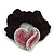 Rhodium Plated Swarovski Crystal Crinkle'Heart' Pony Tail Black Hair Scrunchie - AB/ Pink
