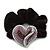 Rhodium Plated Swarovski Crystal Crinkle 'Heart' Pony Tail Black Hair Scrunchie - AB/ Purple/ Amethyst